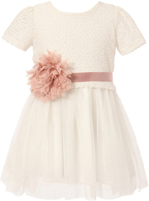 Richie House Girls' Special Occasion Dresses White - White Lace Tulle Sash Dress - Toddler & Girls