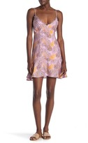 Lush Printed Crochet Trim Mini Dress
