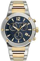 Salvatore Ferragamo Men's 41mm F-80 Two-Tone Chrono Bracelet Watch, Blue