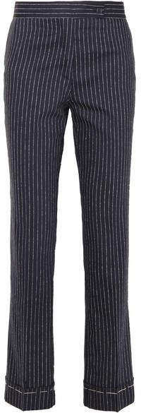 Golden Goose Venice Pinstriped Wool And Silk-blend Slim-leg Pants - Navy