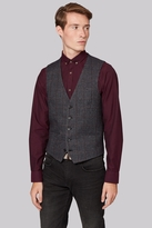 Moss Bros Slim Fit Charcoal Windowpane Waistcoat