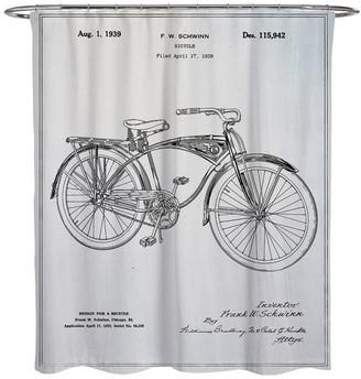 "Oliver Gal Schwinn Bicycle"" Shower Curtain, 71""x74"""