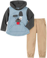Kids Headquarters Boys' Casual Pants ASSORTED - Blue & Gray Dog Hooded Pullover & Khaki Pants - Infant