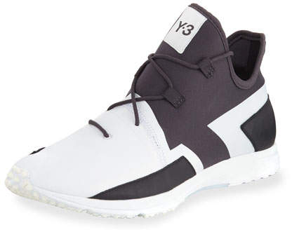 Y-3 Men's Arc Mid-Top Textile Sneaker, White/Black