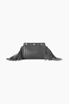 French Connenction Fringed Leather Clutch