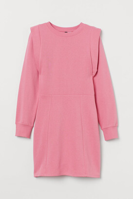 H&M Fitted Sweatshirt Dress - Pink
