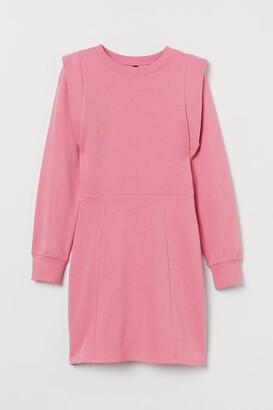 H&M Fitted Sweatshirt Dress - Pink