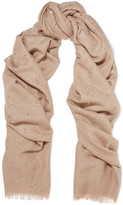 Brunello Cucinelli Sequined Cashmere And Silk-blend Scarf - Camel