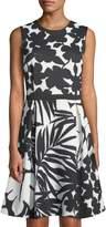 Modern American Designer Mixed-Floral Fit & Flare Dress