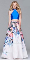 Faviana Cascading Floral Two Piece Prom Dress