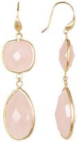 Rivka Friedman 18K Gold Clad Bold Rose Quartz Double Dangle Earrings