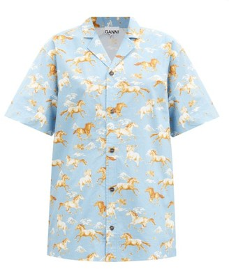 Ganni Horse-print Cotton Shirt - Blue Multi