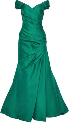 Badgley Mischka Off-the-shoulder Draped Duchesse-satin Gown