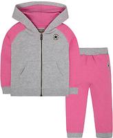 Converse Baby Raglan Hoodie and Joggers Set, Pink/Grey