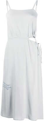 Off-White Cut-Out Drawstring-Detail Midi Dress