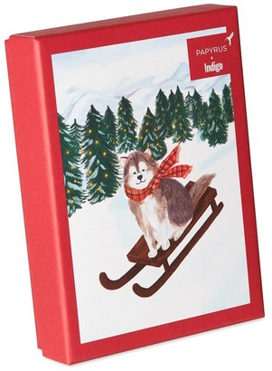 Papyrus Holiday Boxed Cards Dog on Sleigh