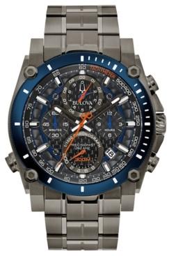 Bulova Men's Chronograph Precisionist Gray Stainless Steel Bracelet Watch 46.5mm