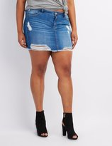 Charlotte Russe Plus Size Destroyed Denim Skirt