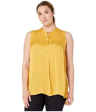 Vince Camuto Specialty Size Plus Size Sleeveless Henley Rumple Tunic