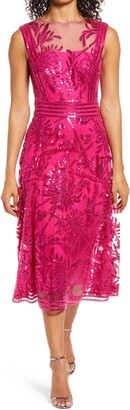 Tadashi Shoji Sleeveless Sequin Fit & Flare Cocktail Midi Dress