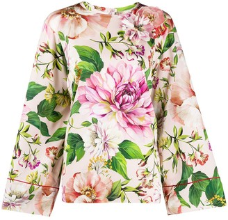 Dolce & Gabbana Floral Flared Sleeve Blouse