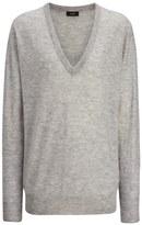 Joseph Cashair V Neck Sweater in Grey Chine