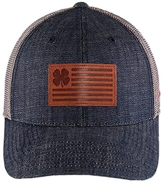 Black Clover Clover Nation Leather Adjustable (Leather Patch Clover/Navy/Charcoal) Baseball Caps
