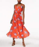 Robbie Bee Petite Belted Floral-Print Maxi Dress
