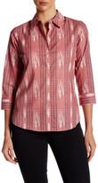Foxcroft 3/4 Length Sleeve Ikat Stripe Shirt