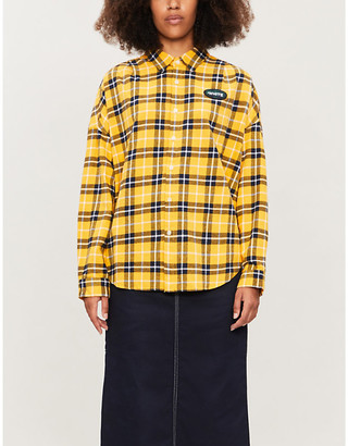 Chocoolate Check-print loose-fit cotton shirt