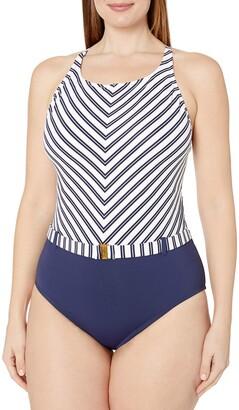 Bleu Rod Beattie Bleu | Rod Beattie Women's Plus-Size Striped High Neck Cross Back Mio One Piece Swimsuit