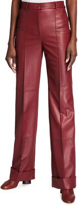 Akris Flore Pleated Leather Pants