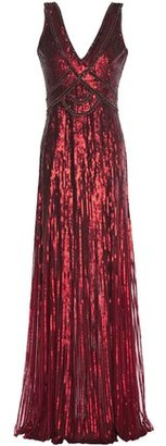 Jenny Packham Embellished Sequined Tulle Gown