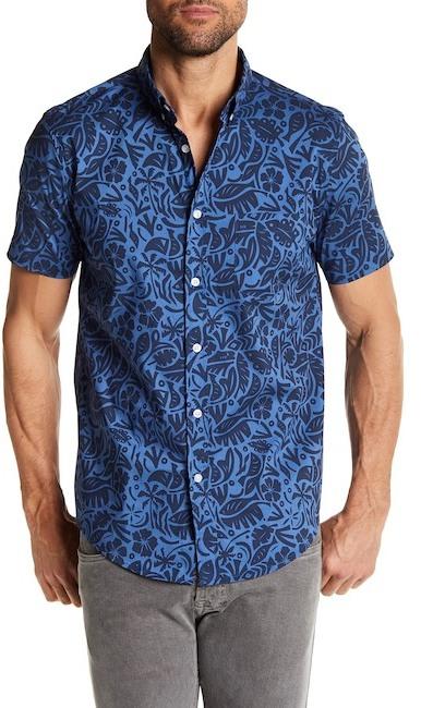 Trunks Tropical Woodblock Short Sleeve Shirt