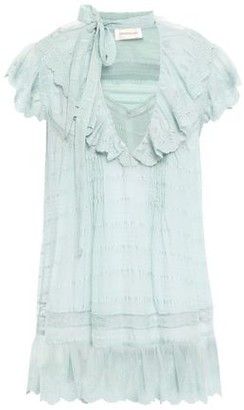 Zimmermann Embroidered Tulle-paneled Silk Blouse