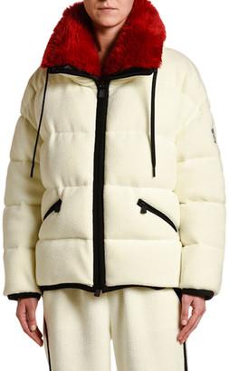 Moncler Oversized Faux-Fur Collar Coat