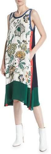 Tory Burch Screen-Print Drapey Tank Dress w/ Side Stripes & Snaps