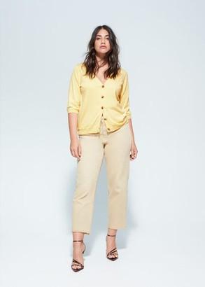 MANGO Violeta BY Tortoiseshell buttons cardigan pastel yellow - S - Plus sizes