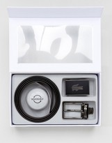 Lacoste Logo Leather Reversible Belt Gift Set