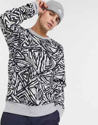 Nike SB all over print crew neck sweat in black