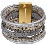 Saachi Braided Multi Cord Grey Leather Bracelet