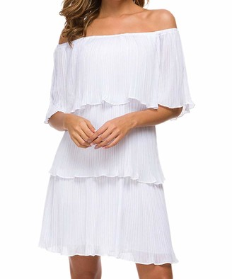 SIMPLEWORD Women's Sexy Off Shoulder Dress Chiffon Ruffle Layered Party Cocktail Mini Dresses White