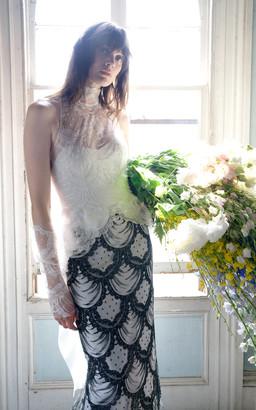 Elizabeth Fillmore Bridal Agatha Scallop Lace High Neck Halter Gown
