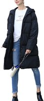 Suvimuga Women's Elegant Long Sleeve Hooded Warm Thick Zipper Puffer winter Long Parka Coat M