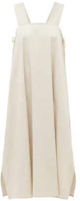 ÀCHEVAL PAMPA Samba Side-tie Cotton-blend Poplin Dress - Womens - Beige
