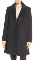 Larry Levine Women's Notch Collar Wool Blend Coat