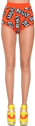 Jeremy Scott Cotton Knit Intarsia Shorts