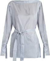 Calvin Klein Collection Keith Bis boat-neck striped satin top