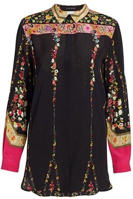 Etro Floral Ribbon Silk Tunic Top