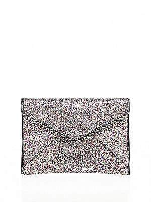 Rebecca Minkoff Women's Leo Glitter Leather Envelope Clutch